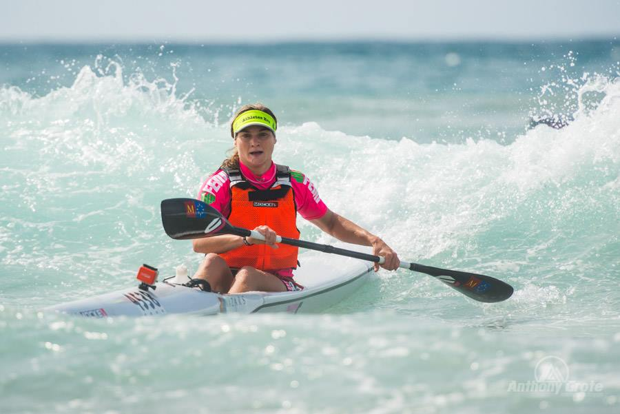 Nicole Russell surfs to victory in the 2015 Marine Surfski Series