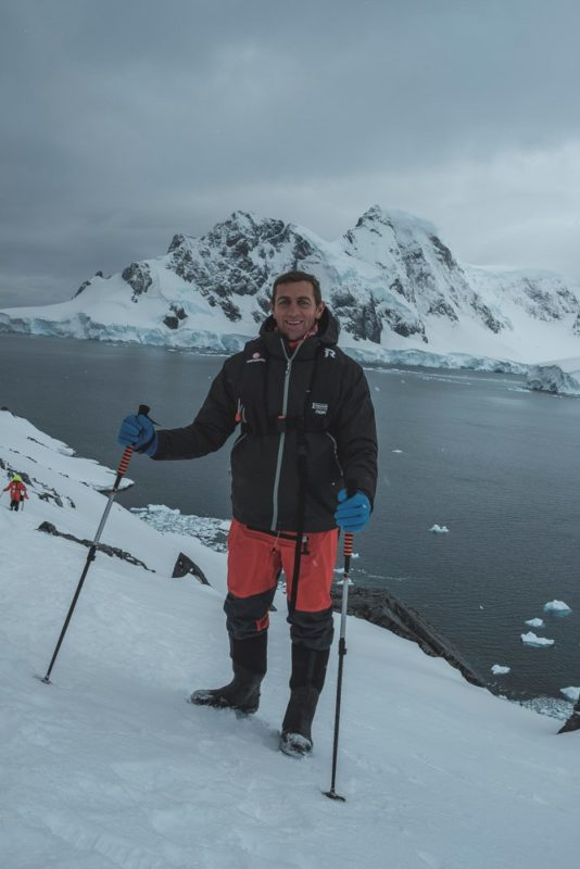 Hiking up a mountain in Antarctica